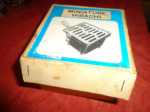 "VINTAGE Mini Cast Iron Grill Hibachi BBQ Charcoal 4"" Wide 3 1/2 High GRILL NEW 