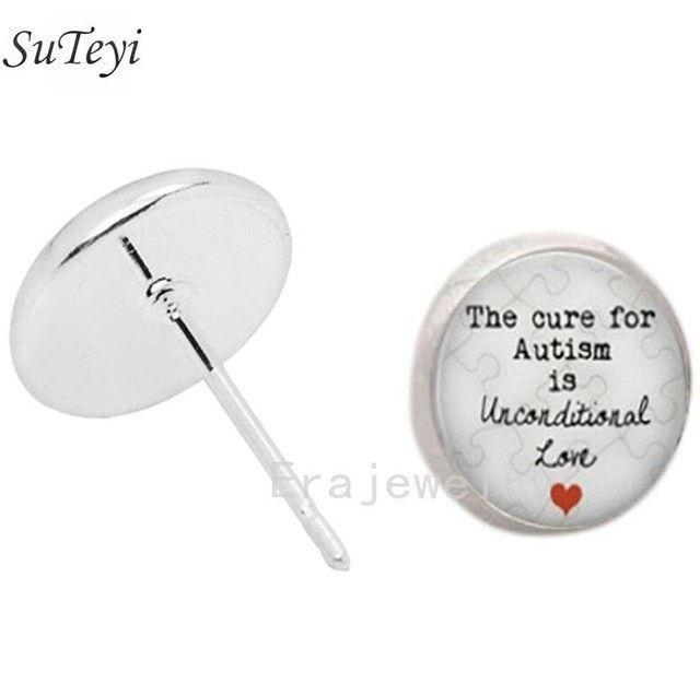 The cure for Autism is unconditional Love -Glass Dome Charm stud