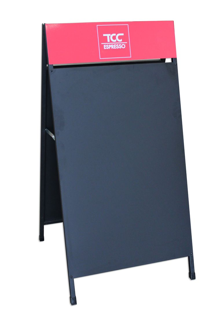 Blackboard A-Frame - (60x17cm Top Sticker) Yes! it's a blackboard with your branding on top! A-frames are versatile and cost-effective signage solution. Ideal for placement on sidewalks or outside shopfronts to attract attention and draw customers through the door.