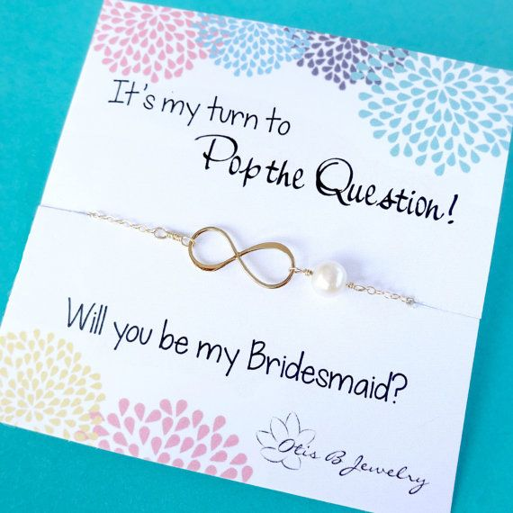 This adorable bridesmaid gift idea features a sweet infinity necklace with a genuine cultured pearl accent and a darling message card, perfect for asking your bridesmaids to stand up in your wedding! Shop more unique bridesmaid gift ideas, here: https://www.etsy.com/shop/BriguysGirls?section_id=5979930&ref