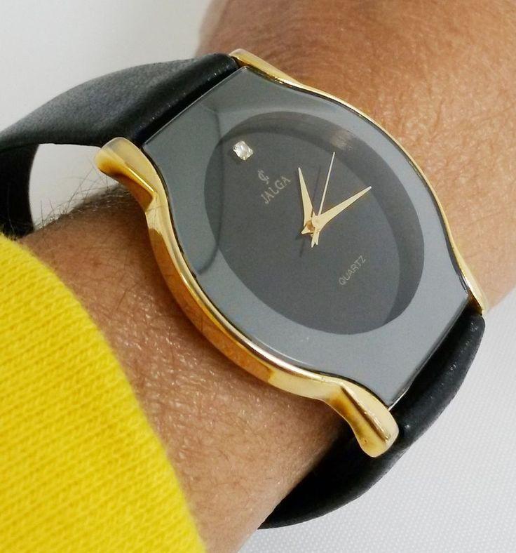 Vintage CJ Jalga Ladies Quartz Wrist Watch Black Leather #Jalga #Casual