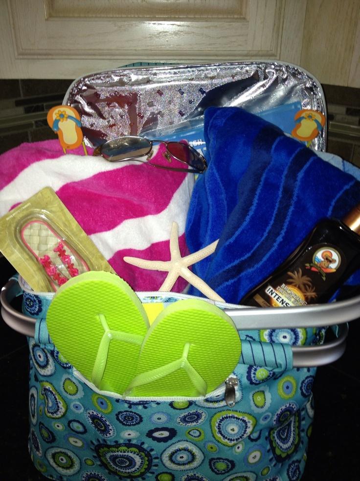 BeachPool Gift Basket  Gift Baskets  Vacation gift basket Auction baskets Raffle baskets