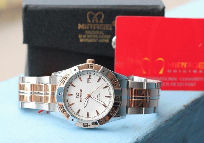 MIRRAGE 7809 BRP-M COMBI  Bahan stainless steel Type:Jam tangan pria Diameter +-4cm Date aktif Strong Glass Water resistent  Original,Garansi 6 bulan  Paket: - 1 buah jam tangan - Box - Kartu Garansi  Harga : Rp. 250.000