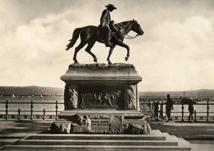 Dick King on the Esplanade. He rode on horseback from Durban to Grahamstown in the  Cape Province to get support when the Old Fort was under siege.