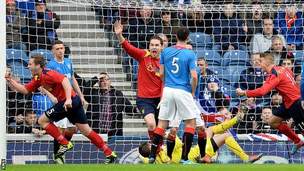 Albion Rovers' Scottish Cup dreams remain alive after they took Rangers to a replay. Ciaran Donnelly (left) wheels away in delight after putting Albion Rovers ahead against Rangers