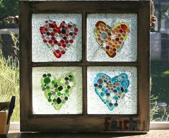 Glass mosaic window frame heart art heart mosaic by dianeziegler, $195.00