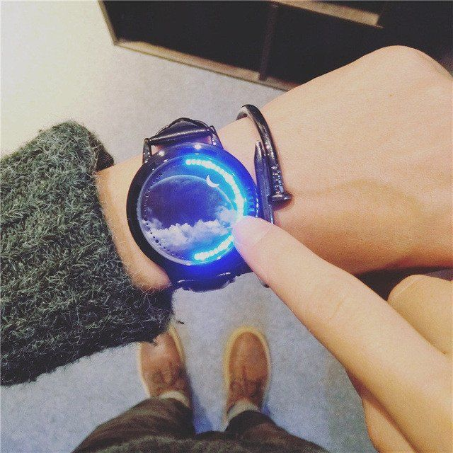 Creative Watches Sky and Star Leather Wristband LED Watches Men Women Couple Watches Electronics Casual Watches