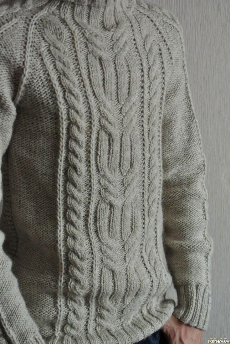 вязание спицами, теплый свитер,  свитер с воротником, вязание на заказ, мужской, свитер, красивый, уютный, для фотосессии, авторская модель, жгуты, араны, косы,