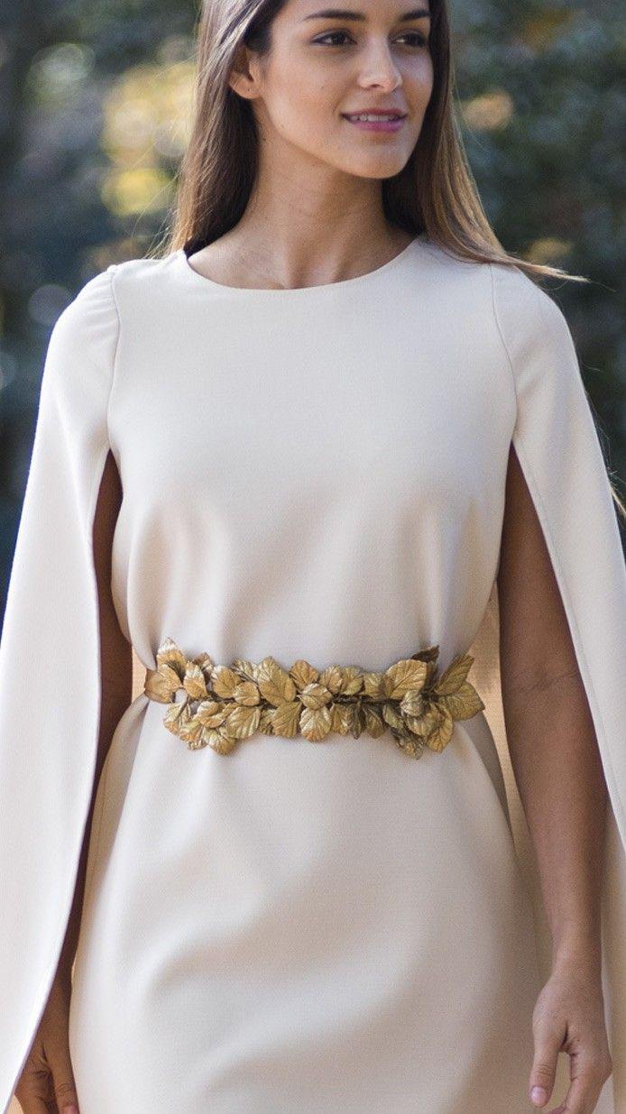 Cinturón joya para vestidos de novia e invitada con hojas doradas y cinta ajustable de Verdemint disponible para su alquiler on-line en dresseos.com
