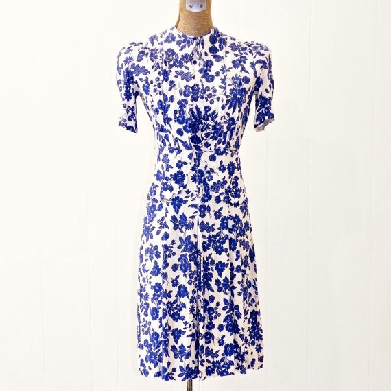 Vintage 40s Dress, Blue Floral 1940s Rayon Crepe Peplum Dress, Garden Party Film Noir XXS-XS