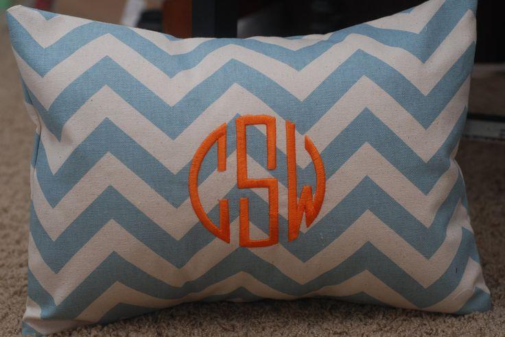 Monogrammed Light Blue Chevron Print Throw Pillow. $35.00, via Etsy. baby boy Pinterest ...