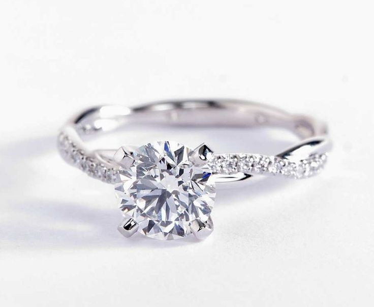 1.3 Carat Diamond in the Petite Twist Diamond Engagement Ring from Blue Nile
