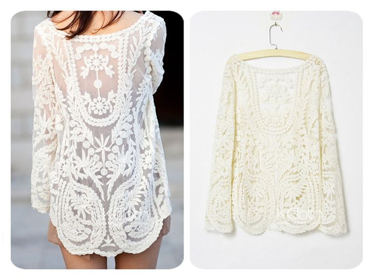 KCLOTH Women Lace Floral Tops Blouse T1365 Sheer Lace by KCloth, $17.99