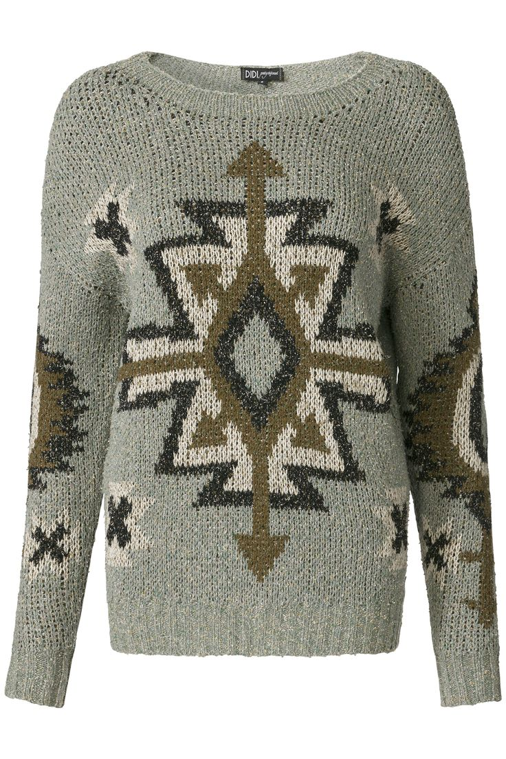 Glamping | Fall collection | Sweater | Aztec print | Grey | Knitwear