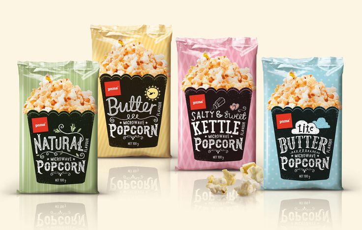 Whether you're headed to a drive-in movie theater or just enjoying a movie  at home, don't forget the popcorn! Pams Popcorn, designed by New Zealand  agency Brother Design, is ideal for popcorn lovers since they offer four  amazing varieties: natural, butter, light butter, and salty and sweet  kettle corn.