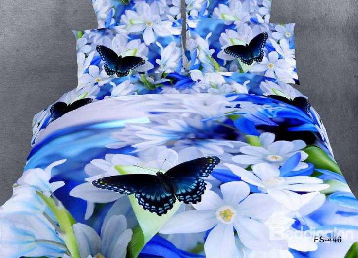 White Flower And Butterfly Print 4 Piece Bedding Sets/Comforter Sets