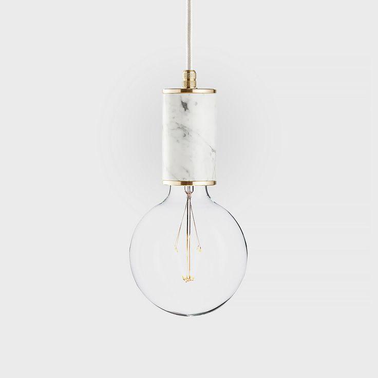 Marble + bulb + pendant + brass