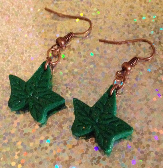Ivy dangle christmas earrings handmade from by VINTAGEnKITSCH £2.00