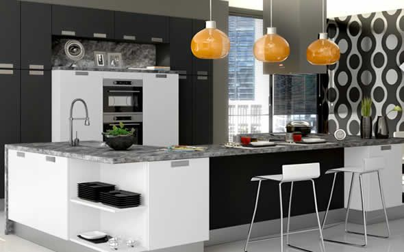 Modern Kitchen In Black White And Grey Gray And White Kitchens Pinterest