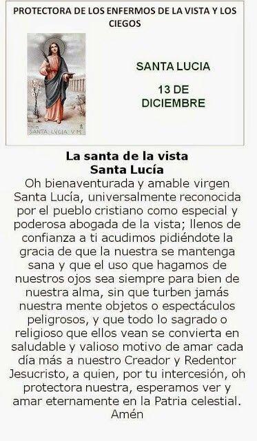 Santa Lucía, protectora de enfermos de la Vista.