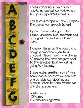 Editable Specials Schedule Cards (A-G) Rotation