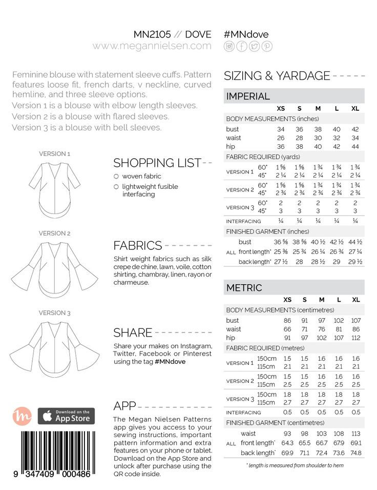 Dove blouse sewing pattern, back of envelope