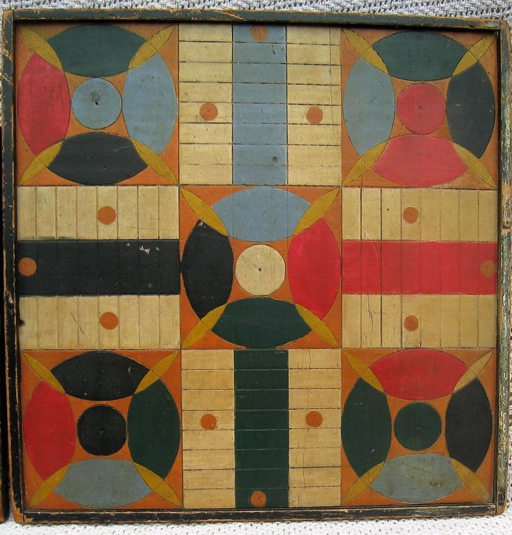 Antique Dealers Association of America - Handpainted and incise carved gameboard with parchesi on one side and checkers on the other.