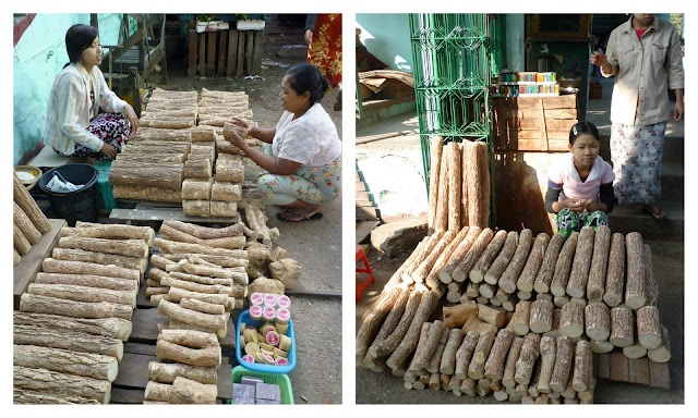 The market place has many sellers of Thanaka tree trunks and branches to make the popular Thanaka makeup-sunblock.  Just hold the piece of branch or trunk against a stone plate.  With a little water grind it to a paste, apply to face.  Or buy the ready made in a jar.