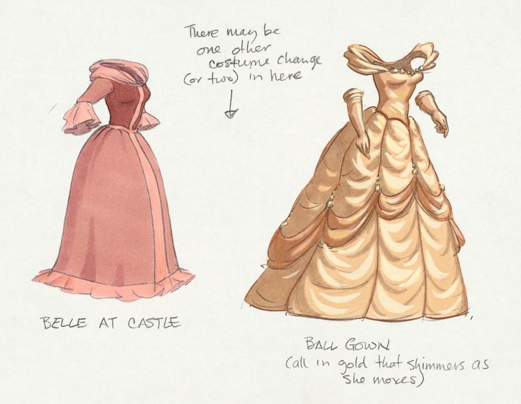 Belle costume design from #DisneyAnimated. I've always wondered where Belle got those dresses from. Like we're they Beast's parents or does he just randomly have dresses everywhere