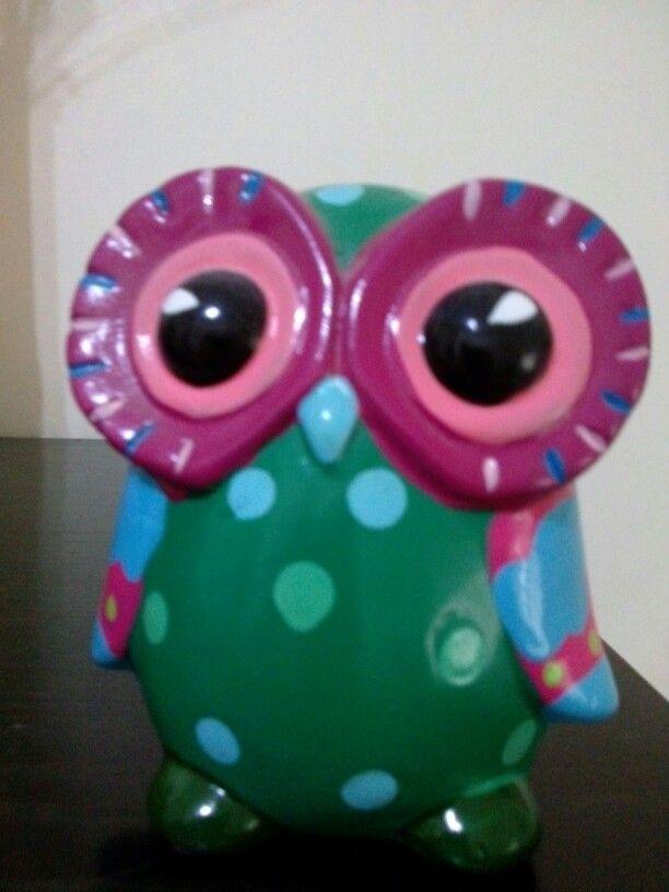 Coloured ceramics owl