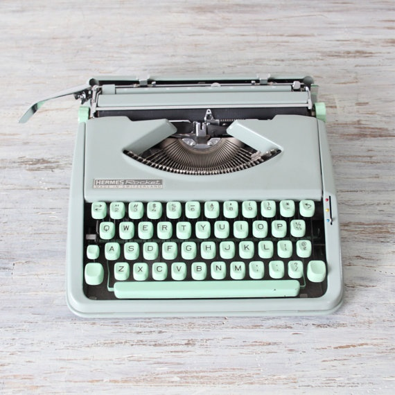 hermes rocket typewriter ... my mother had one of these - strong childhood memory... clack clack clack ..DING!