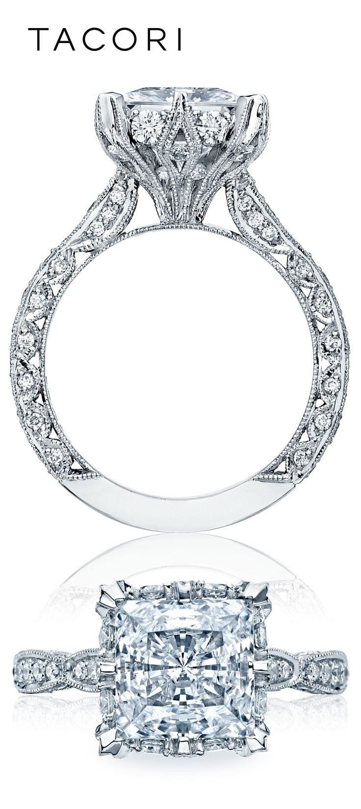 It is all in the details! Marquis shaped designs create the ceiling on this unique princess cut stunning beauty.