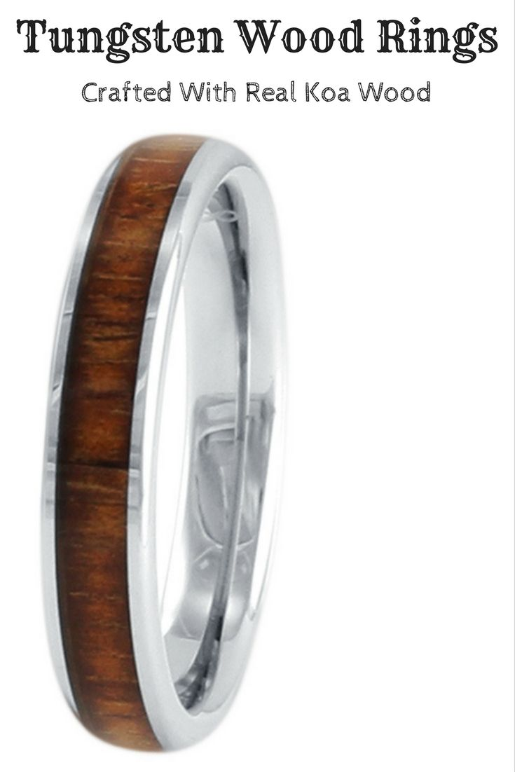 4mm flat profile tungsten carbide ring with real koa wood inlay. This ...