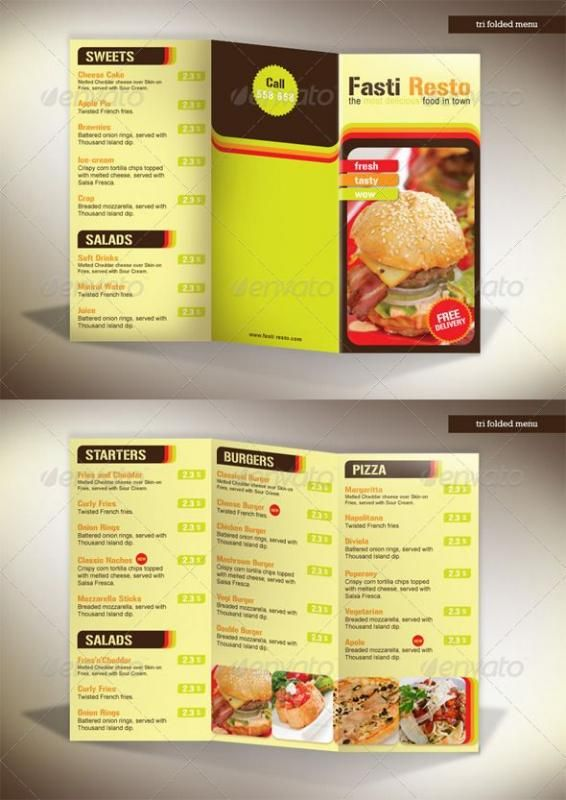 tri fold menu template pinterest menu template menu and