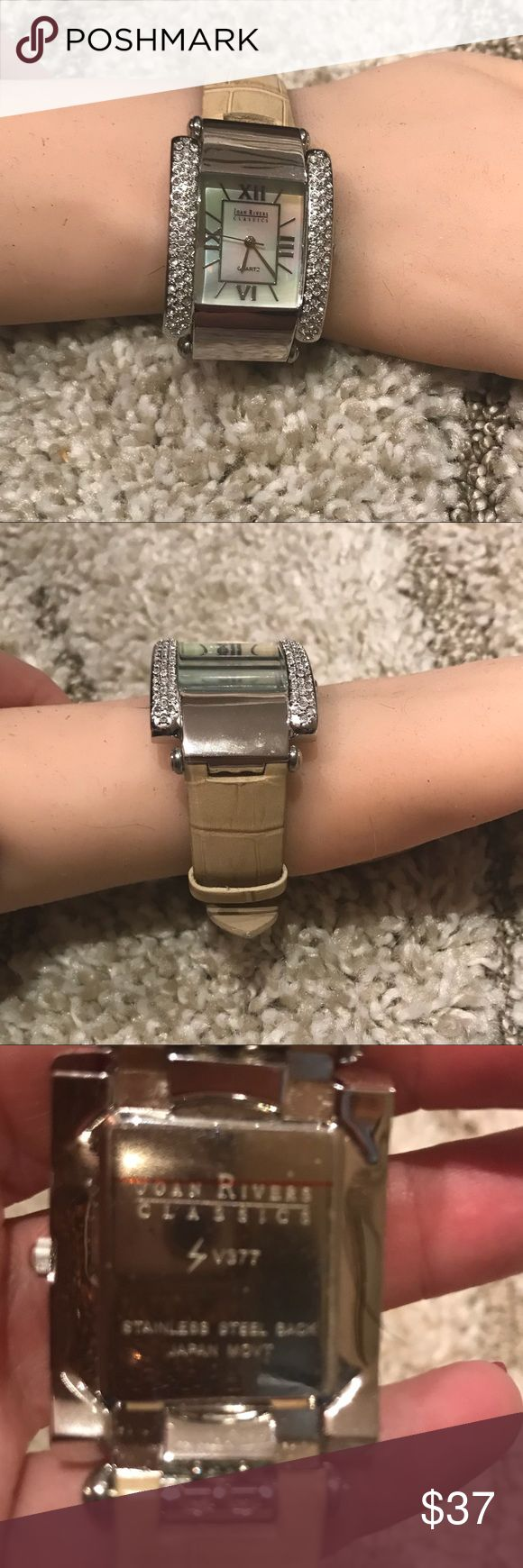 Joan Rivers Stainless Steel Watch❤️❤️❤️ Gorgeous ❤️❤️❤️Beige leather band ...white crystals...just needs battery💋 joan rivers Jewelry