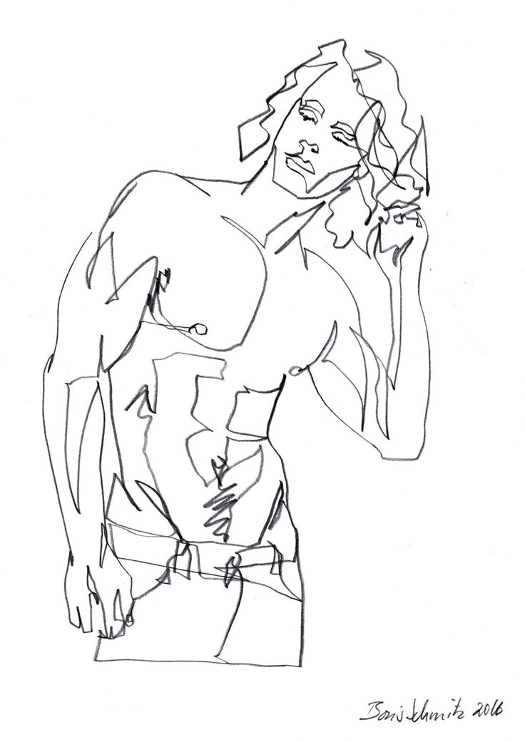 """body 6″, continuous line drawing by Boris Schmitz"