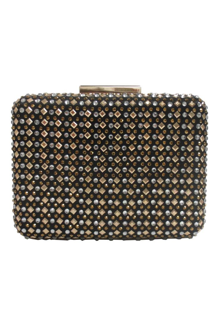 """Black clutch studded all over in silver and gold decals. Perfect evening bag to go with any color outfit.    Measures at 6"""" x 4"""" x 2""""   Studded Clutch by Sondra Roberts. Bags - Clutches New York"""