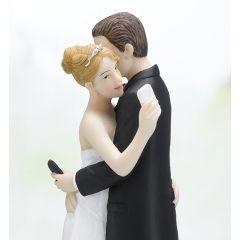 Tortenfigur Brautpaar mit Handy Tortenaufsatz