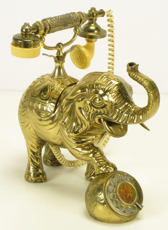 vintage cast brass elephant form telephone