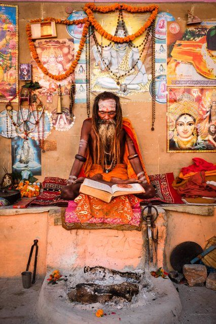 """Varanasi Guru"". This picture was taken in Varanasi, India at sunrise on the banks of the Ganges River. Photo location: Varanasi, India. (Photo and caption by David Caldwell/National Geographic Photo Contest)"
