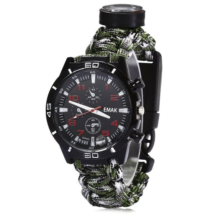 Outdoor Survival Watch Tactical Compass Bracelet Flint Fire Starter Paracord Thermometer Whistle Multifunction Camping Band