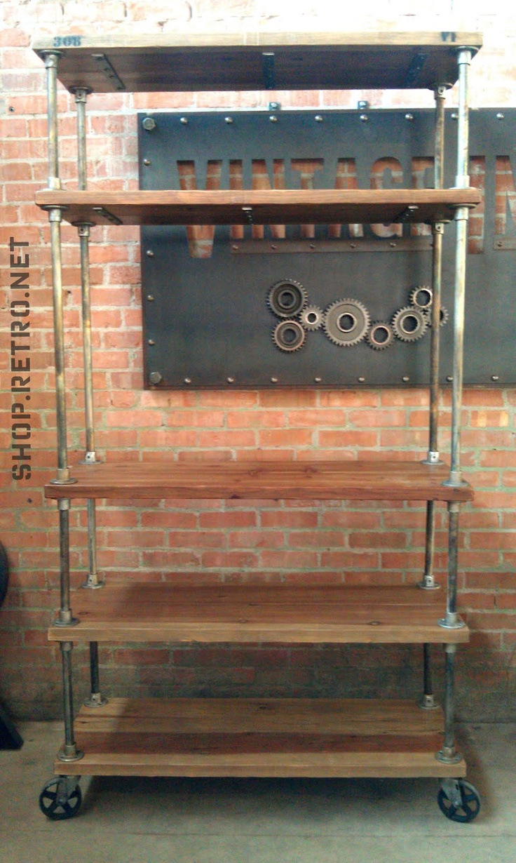 Diy metal pipe shelves shelves pinterest industrial for Diy industrial bookshelf