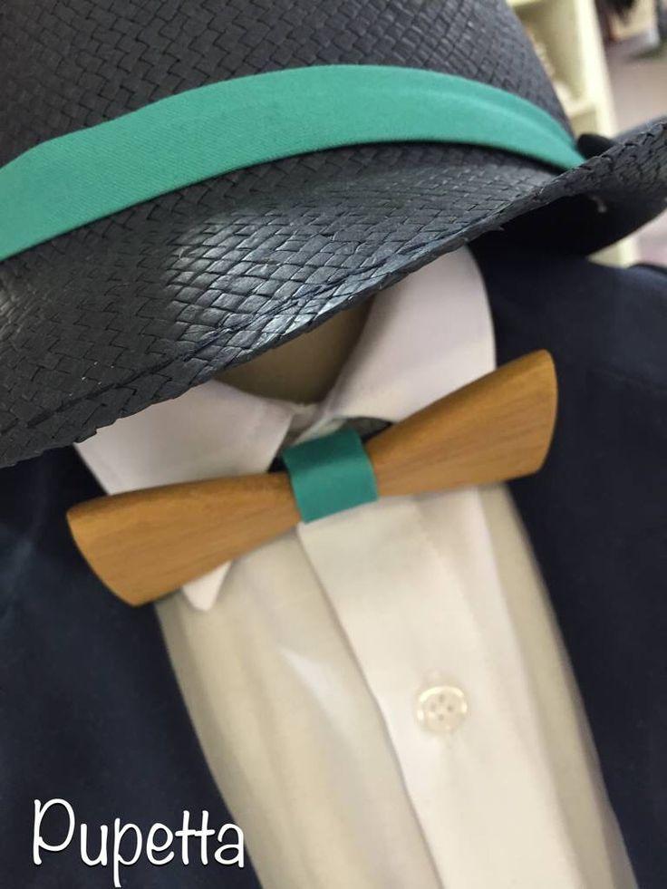 Βαπτιστικό ρούχο Pupetta με ξύλινο παπιγιόν.