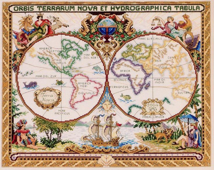Вышивка крестиком. Старинная карта мира.