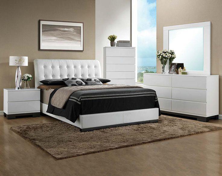 White Bedroom Suite Headboard Dresser Mirror Avery Bedroom Set