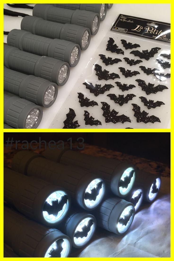 $0.97 flashlights + clearance Halloween bat stickers = Batsignals. (For Maverick's Lego Batman Party)