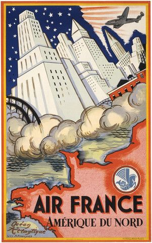 Air France. Amérique du Nord. Air France to North America. Vintage Air France travel poster, circa 1946. Illustrated by Guy Arnoux this poster shows a plane flying over a North American skyline. Stars