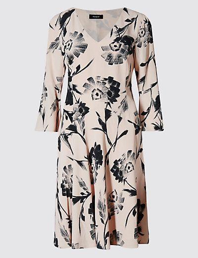 Brushed Floral Fit & Flare Dress | M&S