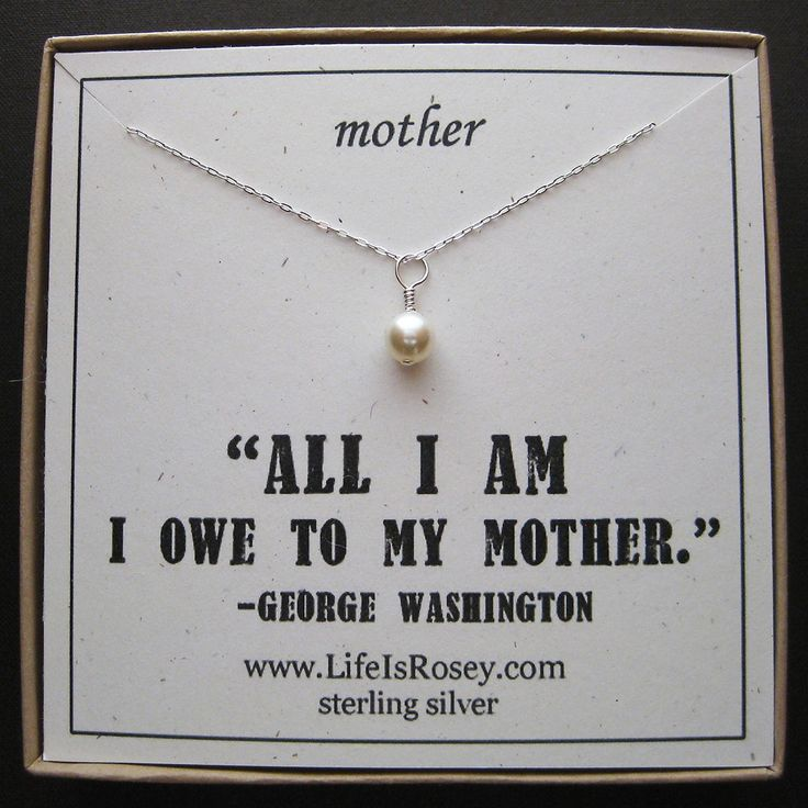 Gift for Mother - Gift for Mom - Mother Necklace with Handwrapped Swarovski Pearl and Boxed Card - Quote Card. $28.00, via Etsy.