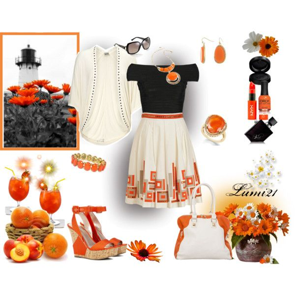 orange by lumi-21 on Polyvore featuring Hervé Léger, Milly, Sole Society, Amrita Singh, Gucci, GAB, NYX, Illamasqua and ORLY